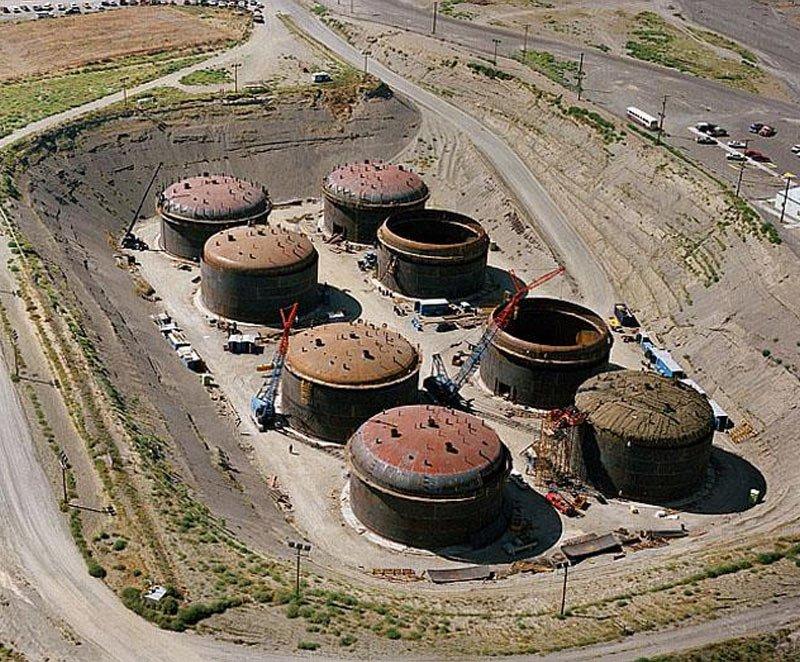 Hanford nuclear site. it cost $100 bn to clean nuclear waste pollutants from this site