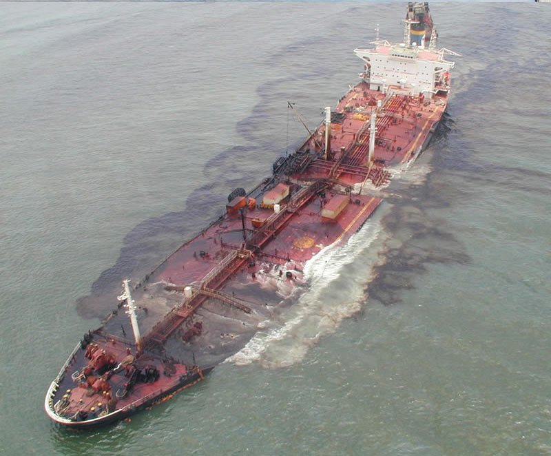 Oil leakage during oil tanker accidents is a type of ocean pollution